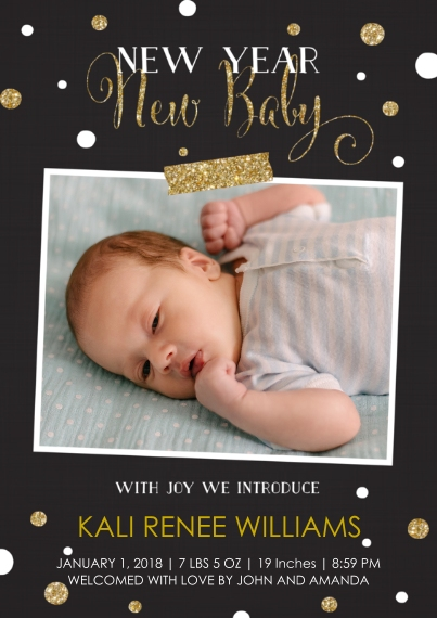 Newborn Flat Matte Photo Paper Cards with Envelopes, 5x7, Card & Stationery -New Year, New Baby