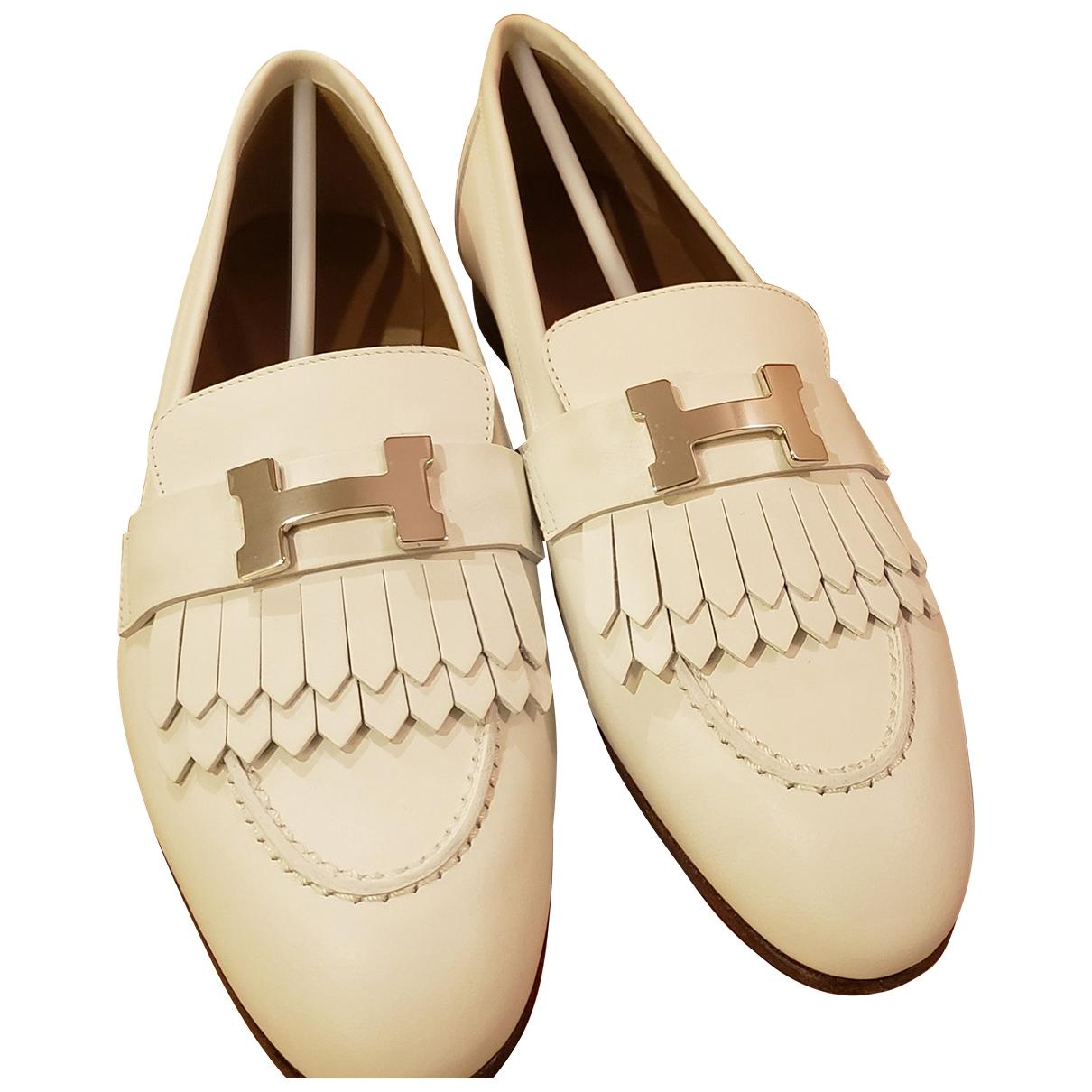 Hermès Paris White Leather Flats for Women 36 EU