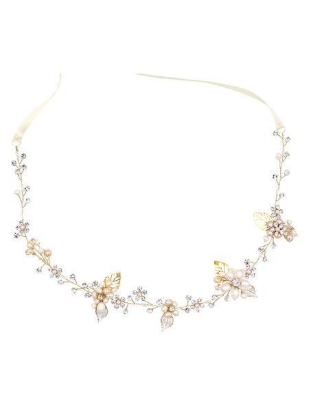 Milanoo Wedding Headpieces Silver Pearls Beading Bridal Hair Accessories