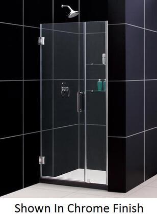 SHDR-20427210S-04 Unidoor 42-43 In. W X 72 In. H Frameless Hinged Shower Door With Shelves In Brushed