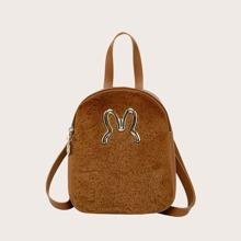 Metal Decor Fluffy Backpack