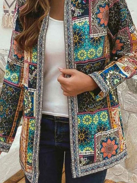 Milanoo Outerwear For Woman Orange Long Sleeves Printed Ethnic Casual Cardigan Coat