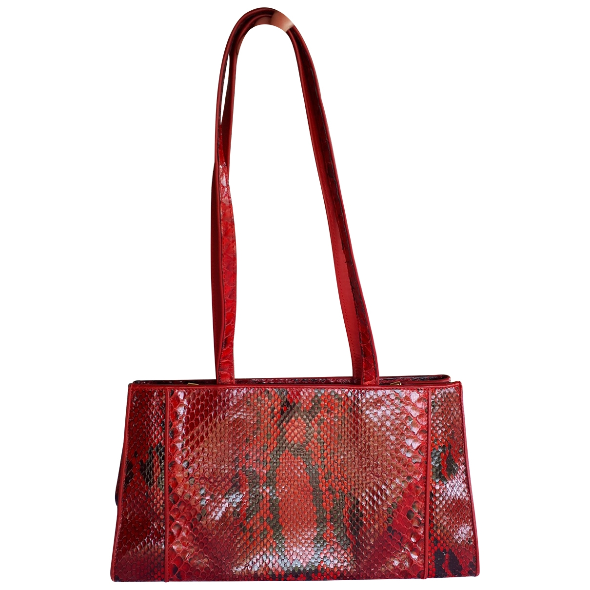 Non Signé / Unsigned \N Red Python handbag for Women \N