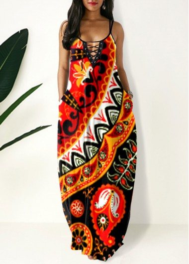 Cocktail Party Dress Side Pocket Tribal Print Spaghetti Strap Maxi Dress - XL