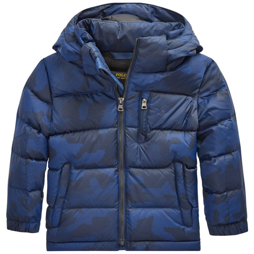 Ralph Lauren Kids Grid Camo Puffa Coat Size: S (8 YEARS), Colour: NAVY