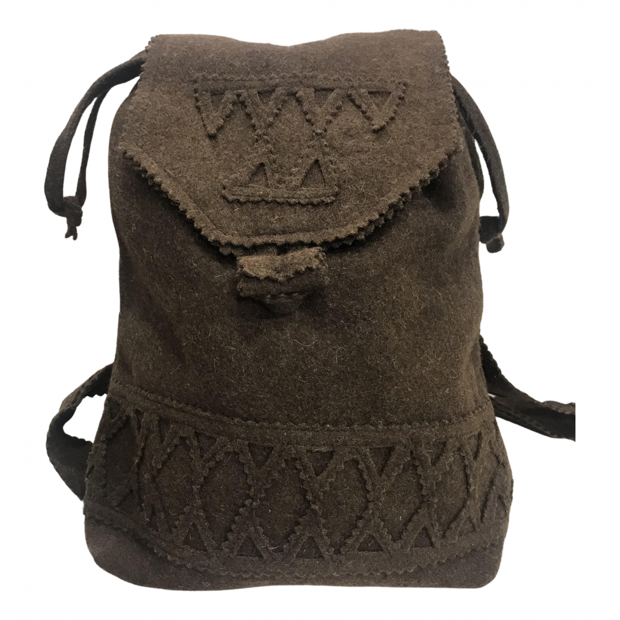 Non Signé / Unsigned N Brown Wool backpack for Women N