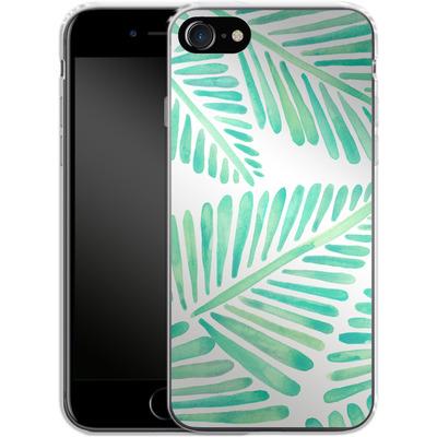 Apple iPhone 8 Silikon Handyhuelle - Banana Leaves Seafoam von Cat Coquillette