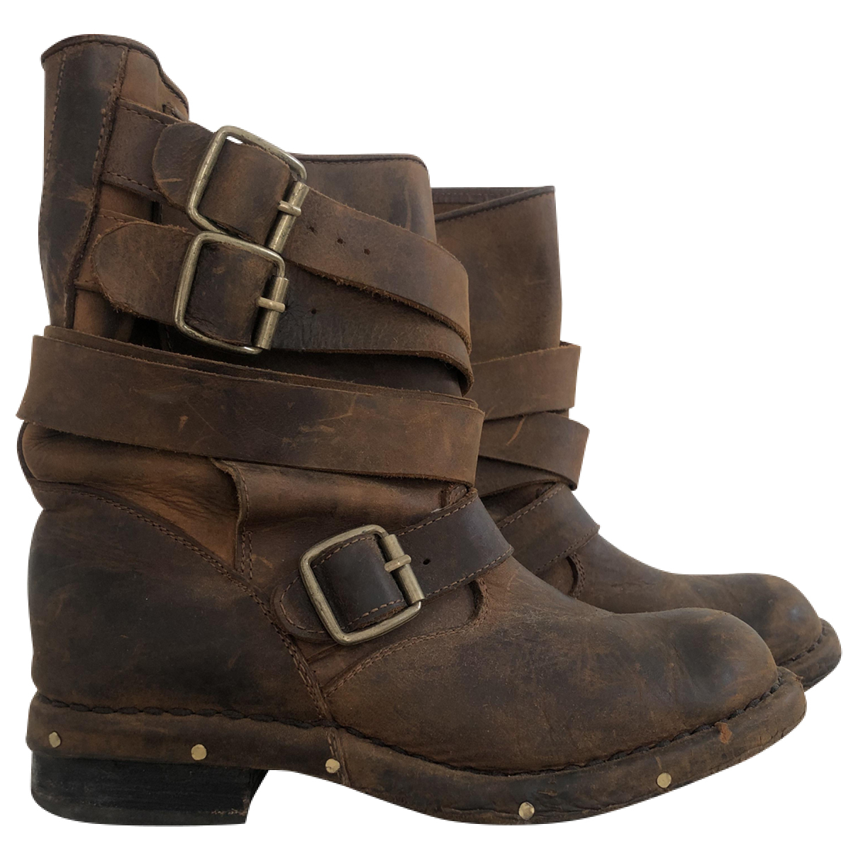 Jeffrey Campbell N Brown Leather Ankle boots for Women 38 EU
