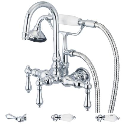 F6-0012-01-PL Water Creation F6-0012-01 Vintage Classic 3-3/8 Center Wall Mount Tub Faucet With Gooseneck Spout  Straight Wall Connector & Handheld