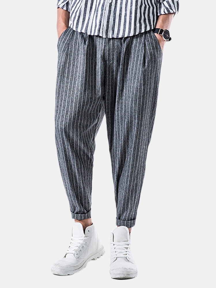 Mens Cotton Breathable Striped Printed Loose Fit Casual Harem Pants