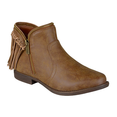 Journee Collection Fringe Womens Ankle Boots, 6 Medium, Brown