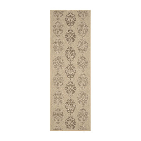 Safavieh Courtyard Collection Ray Floral Indoor/Outdoor Runner Rug, One Size , Brown
