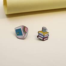 2 piezas broche con libro