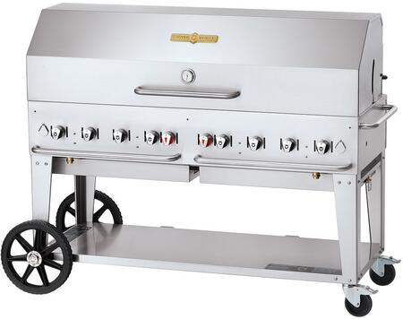 CV-MCB-60-SI-BULK-1RDP 60 Liquid Propane Mobile Grill with Roll Dome Hood  129 000 BTU Capacity  Single Gas Connection  8 Stainless Steel Burners