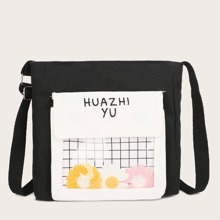 Letter Embroidery Clear Detail Crossbody Bag