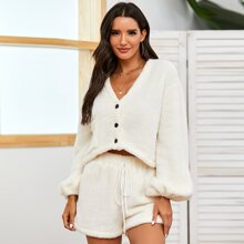 Teddy Bishop Sleeve Jacket With Tie Front Shorts