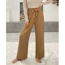 Paper Bag Waist Wide Leg Belted Pants