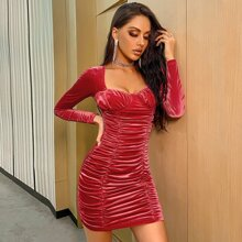 Double Crazy Sweetheart Neck Ruched Velvet Bodycon Dress