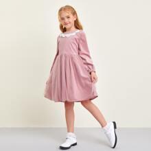 Kord Kleid mit Kontrast und Netzstoff