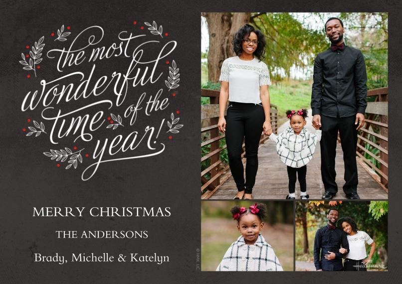 Christmas Photo Cards 5x7 Cards, Premium Cardstock 120lb, Card & Stationery -Wonderful Year Chalkboard