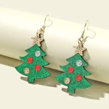 Girls Christmas Tree Drop Earrings