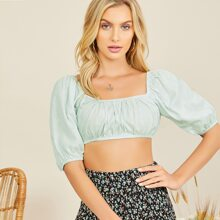 Square Neck Puff Sleeve Crop Top
