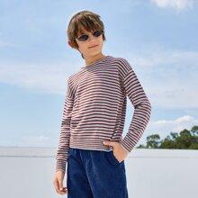 Boys Drop Shoulder Striped Sweater