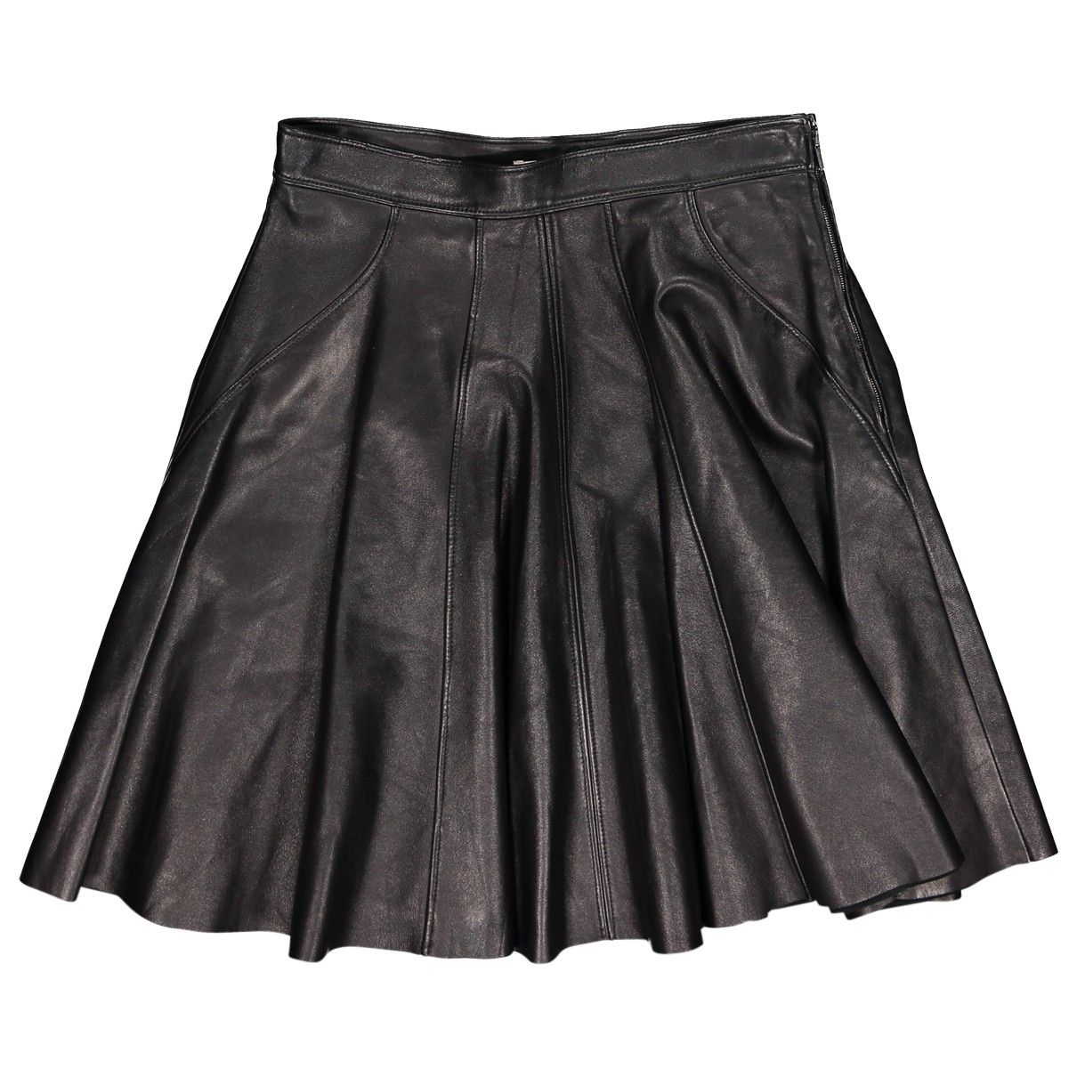 Miu Miu \N Black Leather skirt for Women 40 IT