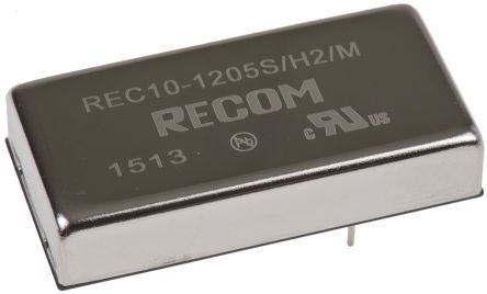 Recom REC10 10W Isolated DC-DC Converter Through Hole, Voltage in 9 → 18 V dc, Voltage out 5V dc Medical Approved