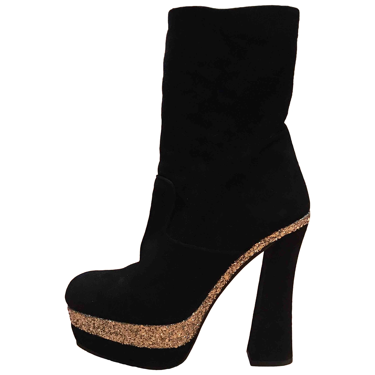 Miu Miu \N Black Velvet Boots for Women 38 IT
