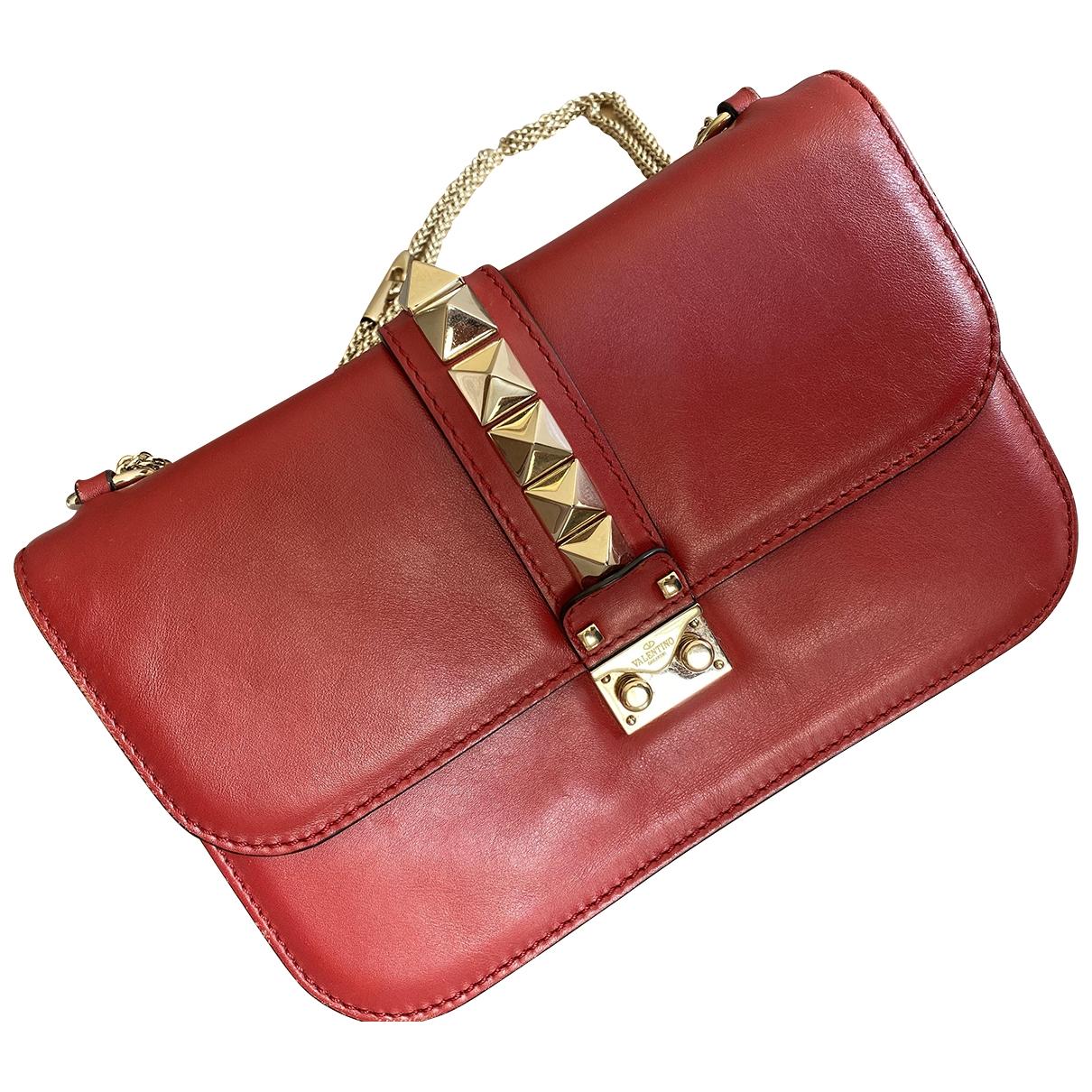 Valentino Garavani - Sac a main Glam Lock pour femme en cuir - rouge