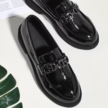 Round Toe Patent Leather Loafers