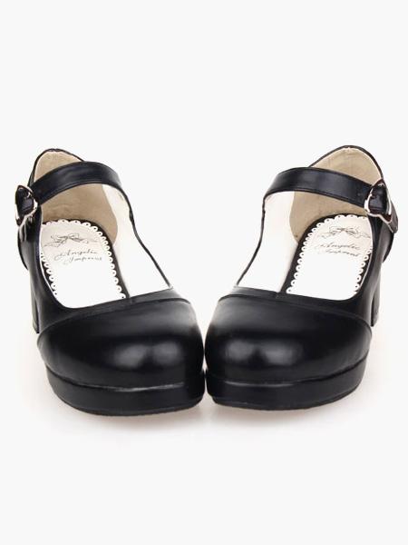 Milanoo Zapatos Lolita Tacon Cuadrado Tirantes de Tobillo Hebilla