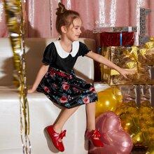 Kleid mit Puppenhalsband und Blumen Muster