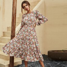 Allover Floral Flounce Sleeve Swing A-line Dress