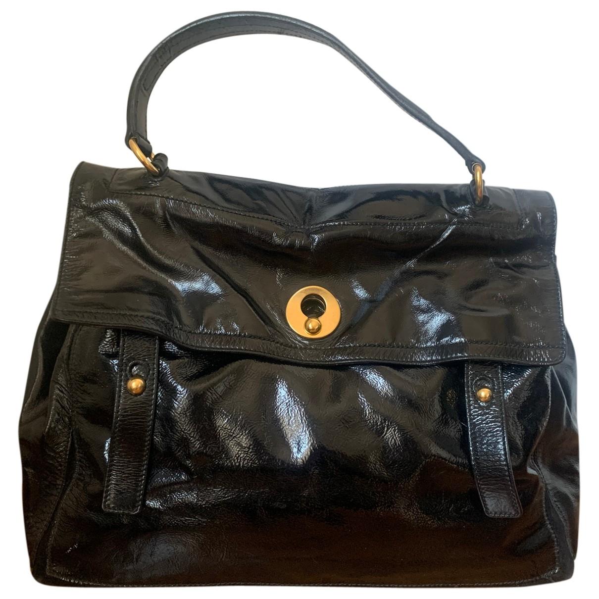 Yves Saint Laurent Muse Two Handtasche in  Schwarz Lackleder