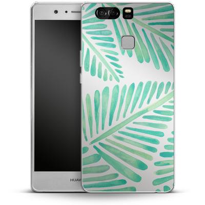 Huawei P9 Silikon Handyhuelle - Banana Leaves Seafoam von Cat Coquillette