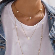 1pc Kunstperlen Perlen geschichteten Halskette
