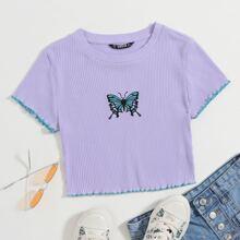 Top corto con bordado de mariposa tejido de canale con puntada en contraste