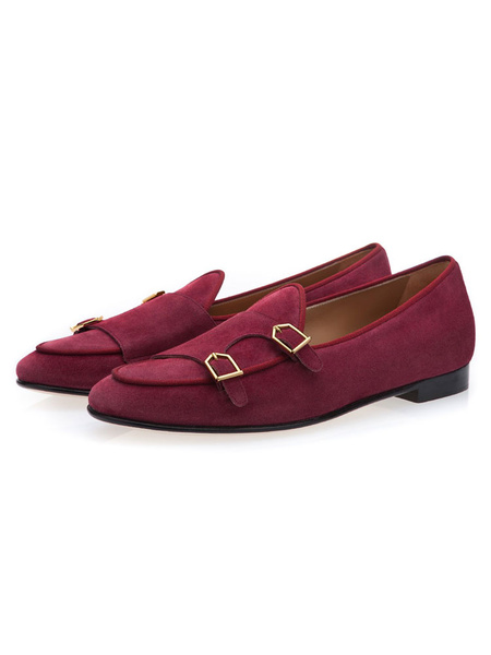 Milanoo  Mens Red Loafers Round Toe Monk Suede Leather Dress Shoes for Party