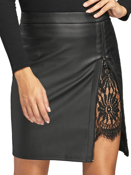 Yoins Black Lace Insert Zip Front Faux Leather Skirt