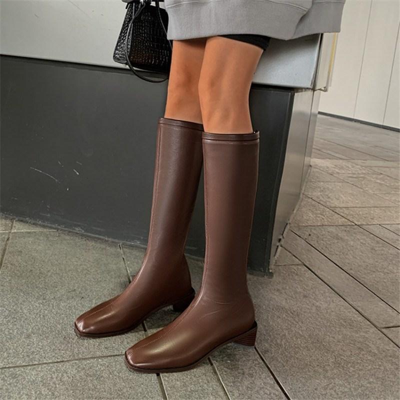 Ericdress Plain Back Zip Chunky Heel OL Boots