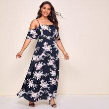 Vestido floral de cintura alta - grande
