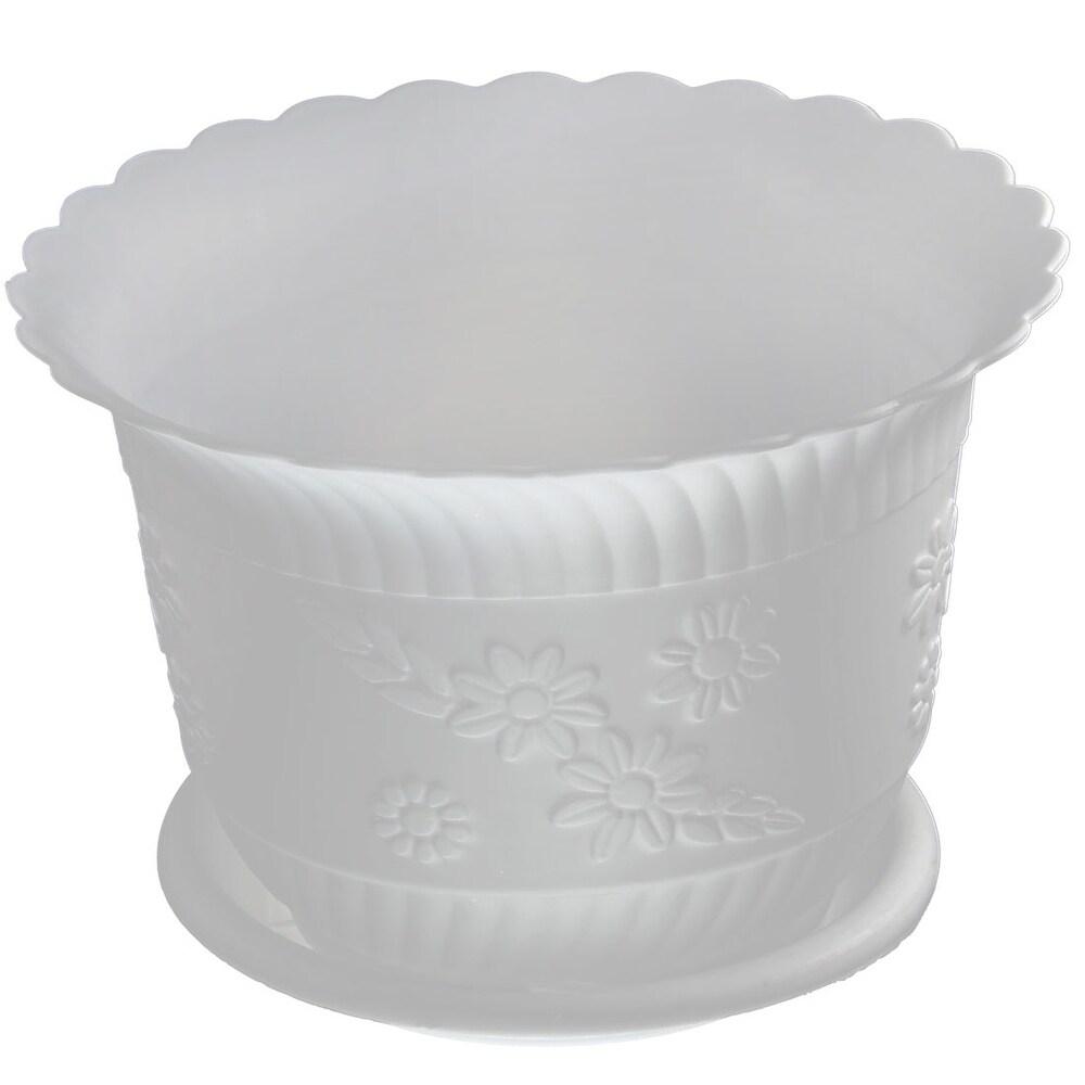 Home Office Garden Plastic Floral Pattern Plant Flower Pot  w Tray - White (White)