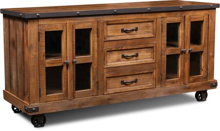 HH-3365-065 Rustic City Collection Sideboard with Storage Drawers  Cabinet Doors  Decorative Hardware  Simple Pull  Caster Wheels and Molding Details
