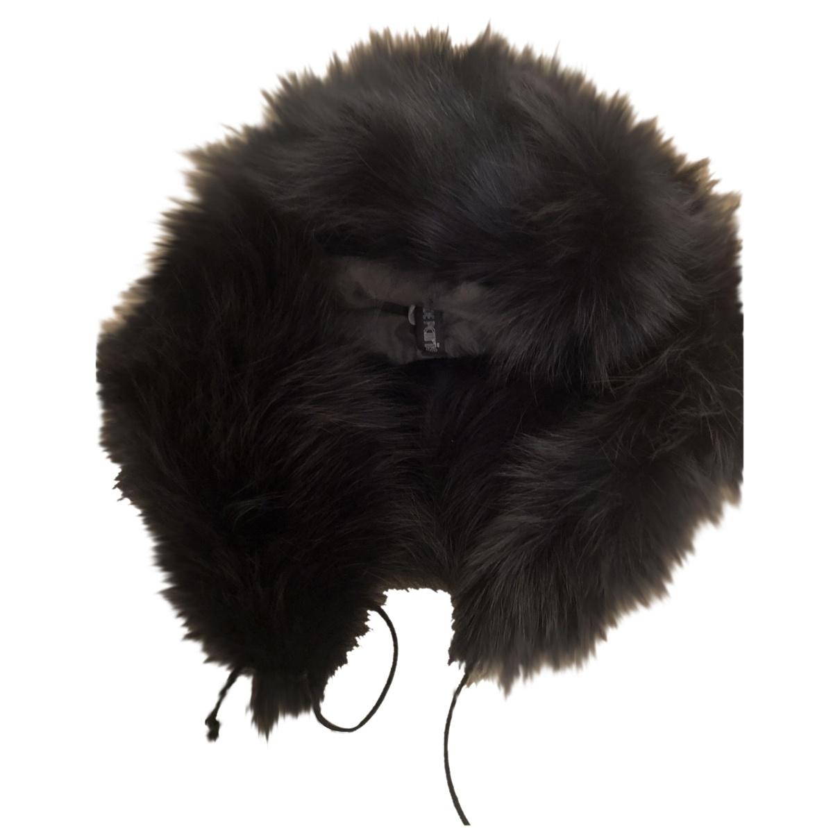 Les Prairies De Paris - Chapeau   pour femme en renard - noir