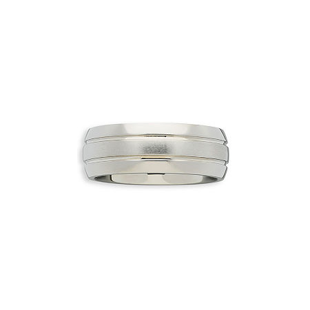 Mens Double-Grooved Titanium Ring, One Size , White