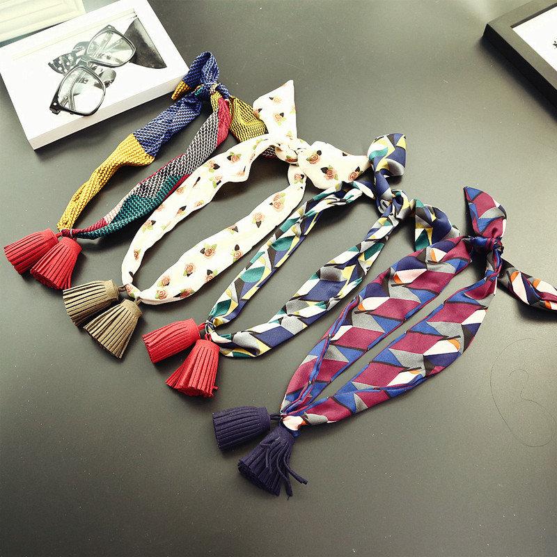 Women Pendants Wild Small Scarf Chiffon Satin Tassel Necklace Scarf