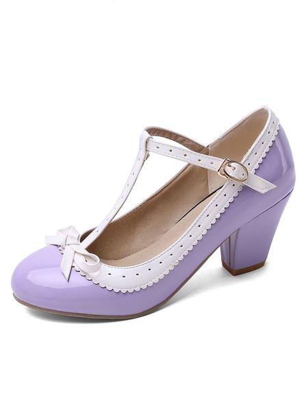Milanoo Sweet Lolita Footwear Bow T Strap PU Leather Puppy Heel Bombas Lolita