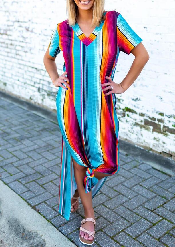 Colorful Serape Striped Slit V-Neck Maxi Dress